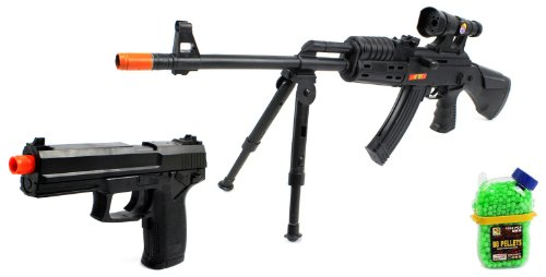 (Combo) King P207 Ak-47 Sniper Spring Airsoft Gun Fps-275 + Task Force Electric Blowback Airsoft Pistol Full Auto Fps-180 + 1000 Bb'S Clip-On Holster Container