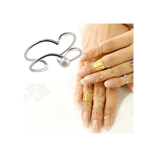[アトラス] Atrus ファランジリング 2連 ベビーパール ホワイトゴールドk18 ミディリング 関節リング 指輪 地金リング ピンキーリング 18金 フリーサイズ (3~7号) 140710103w 指先に着ける新感覚のリング 二連 真珠 レディース