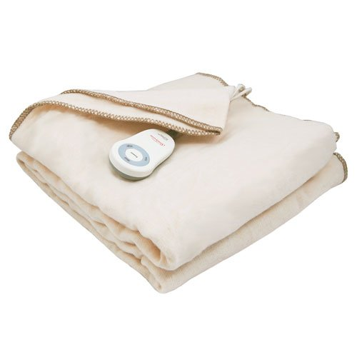 Sunbeam Fleece Throw Electric Heated Warming Heating Blanket Home Choice, Seashell Off-White