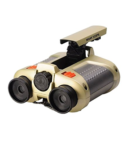 Elikeable Night Scope Binoculars 4x30 Surveillance Telescope with Pop-up Spotlight and Night-beam Vision Fun Cool Toy Gift for Kids Boys Girls