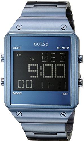 GUESS U0596G4 da uomo, motivo: Sky Blue Digital-Orologio con allarme, Dual Time Zone e funzioni Cronografo da uomo