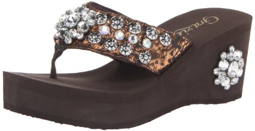 Grazie Women'S Riptide Wedge Sandal,Bronze,9 B Us back-559323