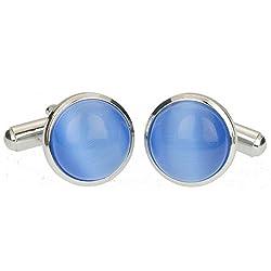 Stylish Trendy Blue Cat's Eye Gemstone Cufflinks for Men