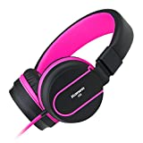 Ailihen I35 Stereo Lightweight Foldable Headphones Adjustable Headband Headsets with Microphone 3.5mm for Cellphones Smartphones Iphone Laptop Computer Mp3/4 Earphones (Black/Purple)