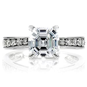 Celebrity Star Emitations DeGeneve's Engagement Ring - Silver, Asscher Cut CZ Size 9 from Enlightened Expressions