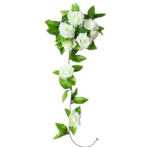Elevin(TM) 1 PC Artificial Rose Flower Rattan Green Leaf Vine Garland for Home Wall Bookstore Office Table Christmas Bar Party Wedding Decoration (White)