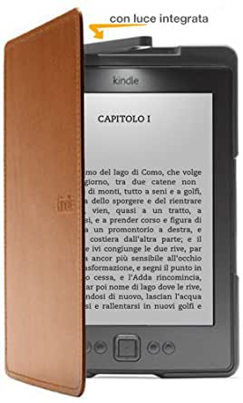 Custodia Amazon in pelle con luce per Kindle, colore: Marrone chiaro (adatta solo per Kindle)