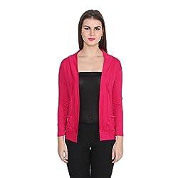 TeeMoods Full Sleeve Cotton Dark Pink Shrug