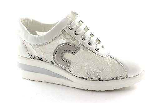 CINZIA SOFT IV9493 bianco scarpe donna sportive zeppetta lacci pizzo 39