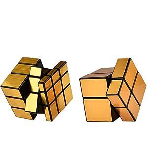 Magic Cube, Haip 2x2 Silver Mirror, 3x3 Gold Mirror Speed Cube Magic Cube 5 PCS Set (Base Holders/Bag Included)