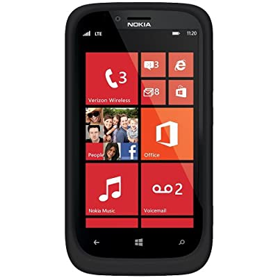 Amzer AMZ95622 Soft Silicone Jelly Skin Fit Case Cover for Nokia Lumia 822 - 1 Pack - Skin - Retail Packaging - Black by Amzer