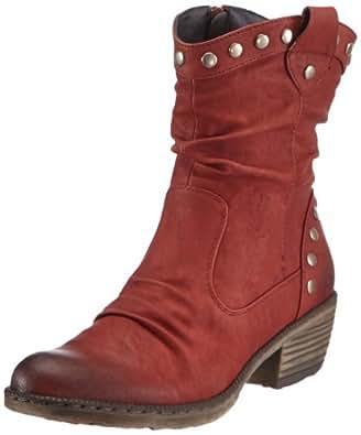 Rieker 93785-35, Damen Halbschaft Cowboystiefel, Rot (burgund / 35), 37 EU (4 Damen UK)