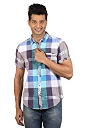 Le Tailor Men's Slim Fit Casual Checkered Shirt (SLCHS107,Blue & Purple)