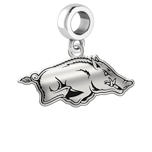 Arkansas Razorbacks Sterling Silver Logo Dangle Charm Fits All European Style Charm Bracelets