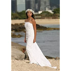 Hawaiian beach tropical wedding dress