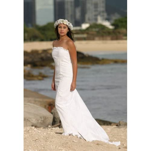 Kawehi Holoku Hawaiian Wedding Dress White Beach Wedding Dress