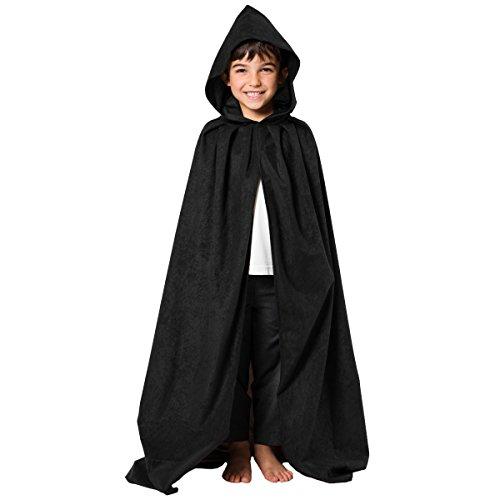 Mantello Nero costume per i bambini. Taglia 8-10 anni.