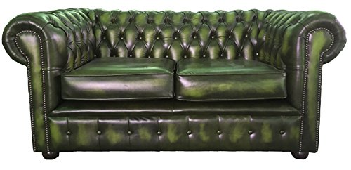 940d4e931234 Deals For Chesterfield Antique Green Genuine Leather 2 Seater Sofa ...
