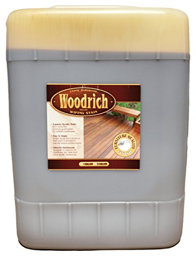 Hardwood Wiping Wood Deck & Fence Stain - 5 Gallon - Woodrich Brand - Great on all Exotic Hardwood like Ipe, Garapa, Teak, Mahogany, & Cambara - Covers up to 1500 Square Feet (Warm Honey Gold) (Dark Brown Spray Paint Gloss compare prices)