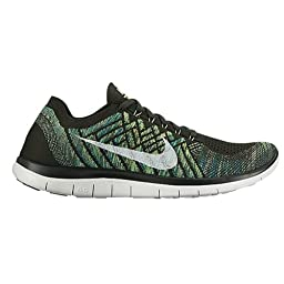 Nike Men\'s Free 4.0 Flyknit, SEQUOIA/SUMMIT WHITE-ELECTRIC GREEN, 9.5 M US