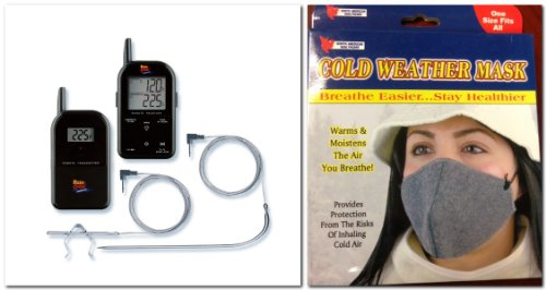 Black Maverick Et732 Long Range Wireless Dual 2 Probe BBQ Smoker Grill Meat Thermometer + Cold Weather Mask