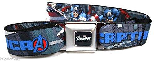 Official Avengers Captain America Seatbelt Belt Buckle Buckledown Marvel
