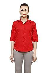 ZX3 Women's Poly Cotton Shirt(Shirt_1014_XL, Red, X-Large)