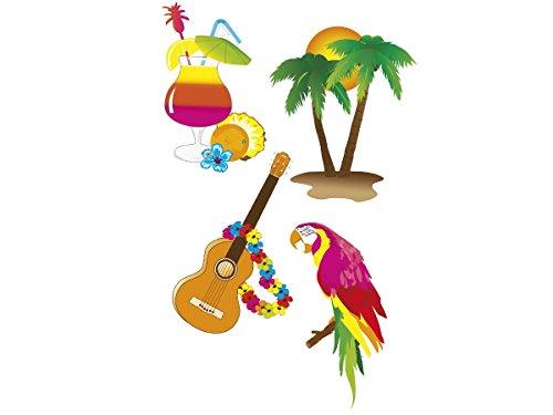 Lot de 4 décorations Hawaï en carton cocktail palmier guitare perroquet (52516) fête spécial accéssoire original en plein air terasse plage ambiance beach party soirée anniversaire mariage idée original sympa pas cher