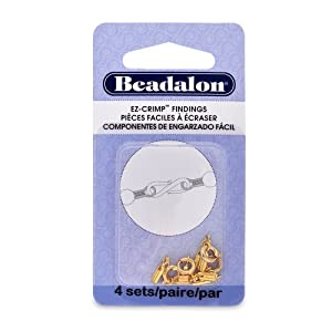 Beadalon EZ-Crimp Spring Ring Nickel Free Gold Plated, 4-Set