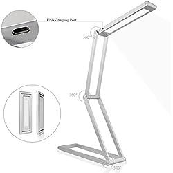 LED Desk Lamp, LeFun™ dimmerabile da tavolo portatile Lampada, 2-Livello Dimmer, Eye-Care, Risparmio energetico, lega di alluminio pieghevole Desk Lamp per Leggere Studiare rilassamento Bedtime (argento)