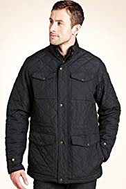 Big & Tall Funnel Neck Quilted Jacket