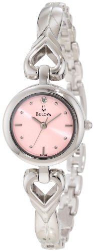 Bulova Womens 96P136 Open Heart Bracelet Watch