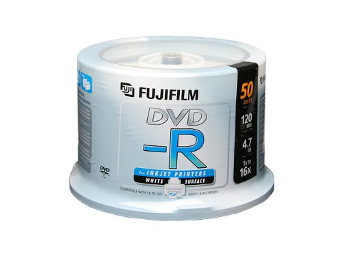 Fujifilm Media 25302082 DVD-R 4.7GB 120 Minutes Printable 16X White Surface Inkjet Storage Media - 50 Pack Spindle