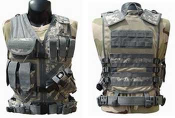 Tactical Crossdraw Military Cross Draw Vest w/Pistol Belt--ACU Camo