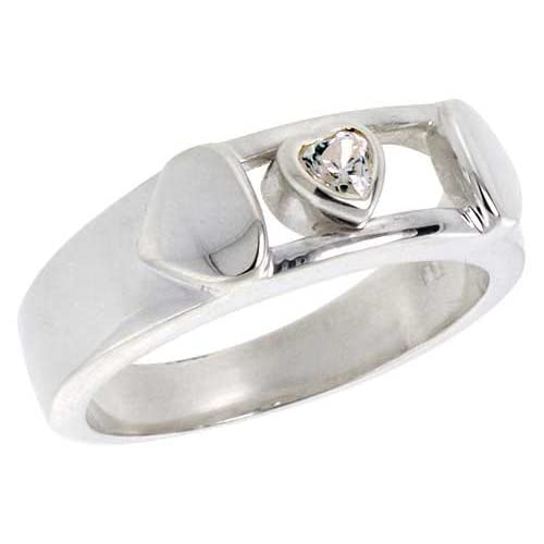 Sterling Silver Cubic Zirconia Heart Ring 1/2 ct, size 7