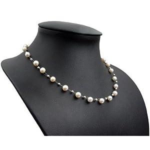Perlenkette Kette Collier Halskette echte Perlen creme-weiß Halsschmuck Damen
