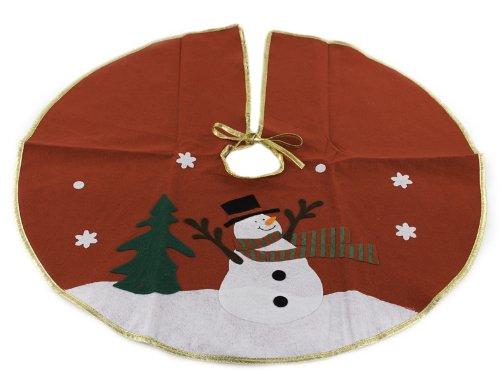 Classic Red Christmas Snowman Tree Skirt