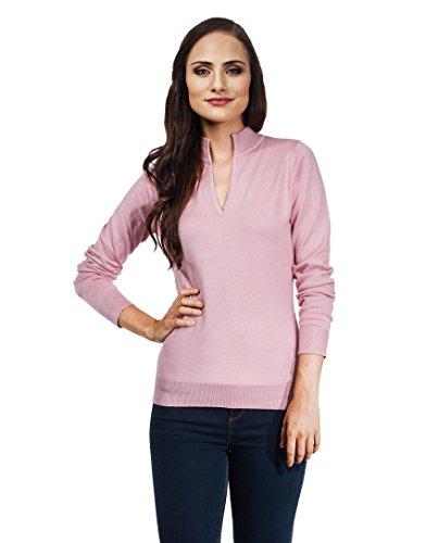 VB-Maglione da donna con scollo a V e Colletto Dusty Pink Small