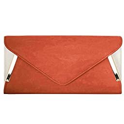BMC Womens Bright Orange PU Faux Leather Envelope Flap Alloy Metal Two Tone White Accented Fashion Clutch Handbag