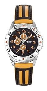 Trendy Kiddy - KL138 - Montre Garçon - Quartz Analogique - Cadran Noir - Bracelet Cuir Noir/Orange