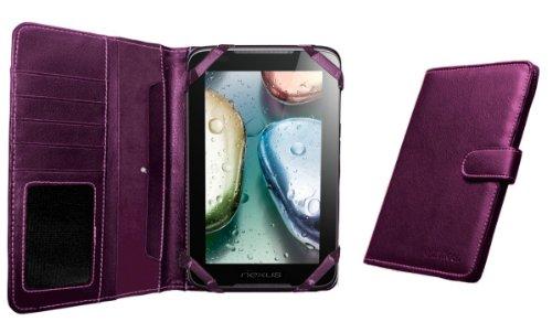 Navitech 7 Zoll bycast Leder flip Trage Case / Cover im Buch Stil für das Chiligreen E-Board HT400 (Chiligreen E-Board HT400, lila)