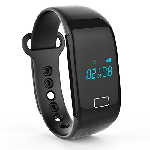 Lincass Activity Wristband Heart Rate Monitor Smart Bracelet Pedometer Step Walking Distance Calorie Counter Smart Watch Fitness Tracker for iOS Android Smartphone (Black)