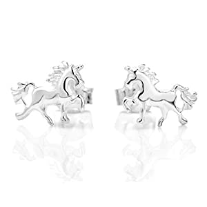 925 Sterling Silver Tiny Prancing Unicorn Horse Pony Post Stud Earrings 5 mm Jewelry for Women, Teens, Girls - Nickel Free from Chuvora