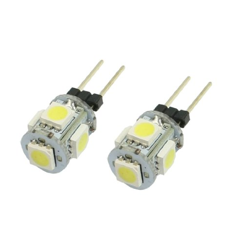 SODIAL (R) 2 Stueck Vertikale Pin G4 Basis Weiss 5050 SMD 5 LED-Birnen-Licht-Lampe