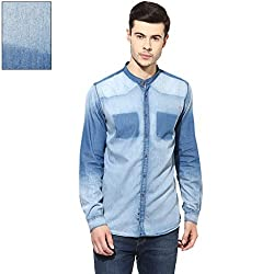 Turtle Men's Indigo Blue Slim Fit Casual Shirt With ___ Effect