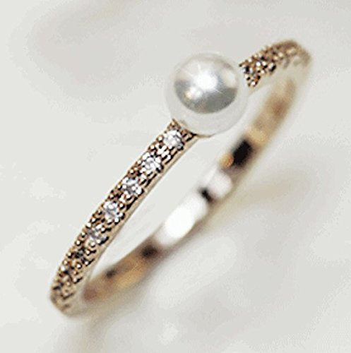18K Pearl Solitaire on Crystal Pave Band Ring - Rose Gold / White Gold Plated (Size 4-8)
