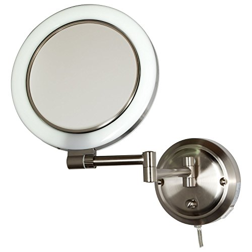 Zadro 10X - 1X Dimmable Sunlight Wall Mount Surround Mirror Satin Nickel