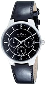 Skagen Men's 331XLSLB Steel Black Leather Multi-Function Watch