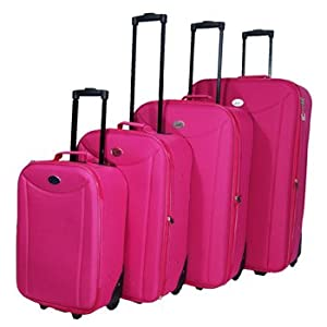Set Of 4 Wheeled Lightweight Suitcases Expandable Cases Luggage In Purple Pink Red Or Black Pink
