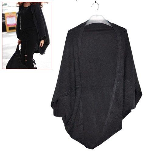 Gleader Cardigan Maglieria maglione di pipstrello manica lunga lavorato a maglia da Donna -L (nero)